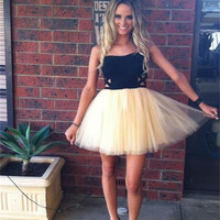 Short Homecoming Dress,Black Homecoming Dress,Tulle Homecoming Dress