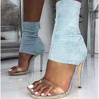 Hot style back zipper high heel sandals for ladies shoes
