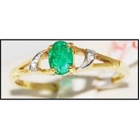 Jewelry Diamond Solitaire Emerald Ring 18K Yellow Gold [R0095]