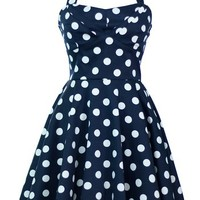 Ixia Polka Dot A-line 50s Pinup Dress-Navy-Small