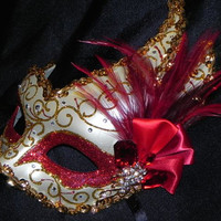 Red and Gold Venetian Feather Mask