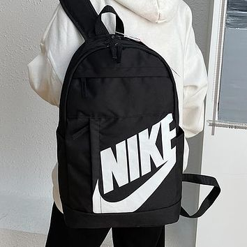 NIKE canvas print letters men's and women's backpacks knapsack Daypack