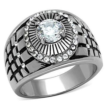 Mens Stainless Steel Rings TK1614 Stainless Steel Ring with AAA Grade CZ
