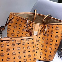 MCM Fashion Women Shopping Bag Leather Handbag Tote Satchel Shoulder Bag Purse Wallet Set Two Piece