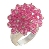 Pink Crystal Silver Ring