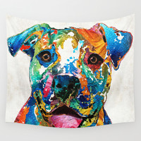 Colorful Dog Pit Bull Art - Happy - By Sharon Cummings Wall Tapestry by Sharon Cummings