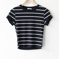 Striped Crop Tee - Black