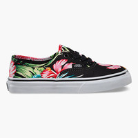 Vans Hawaiian Floral Authentic Girls Shoes Black  In Sizes