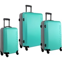 Nautica Luggage Ahoy 3 Piece Hardside Spinner Outer Shell Set, Teal/Silver/Silver, One Size