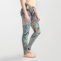 Lady's leggings Active wear Casual wear Stretchable leggings Abstract pattern Arbitrary curves