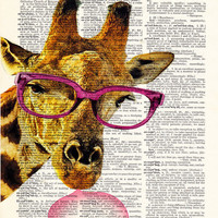 Giraffe Animal Glasses-Funny Poster Art Print-Giraffe Bubblegum Art-Decorative Art-DICTIONARY Print-Gift Poster-Giraffe-Kids Room Wall Decor