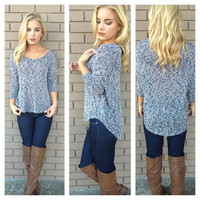Navy Knit Lightweight Sweater Top
