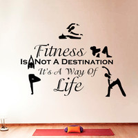 Wall Decal Quotes Sports Fitness Is Not Exercises Yoga Design Vinyl Decals Gym Playroom Nursery Living Room Kids Bedroom Home Decor 3800