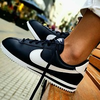 Nike Classic Cortez New fashion hook couple shoes Black