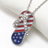 Adorable Red White and Blue Crystal Bling Flip Flop Necklace