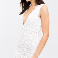 Morning Nights White Lace Bodycon Dress