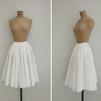 1970s Skirt - Vintage 70s White Accordion Pleated Skirt - Match Point Skirt
