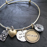 Lulu Belle bangle bracelet- Alex and Ani inspired. Hand stamped custom and personalized jewelry