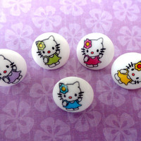 Set of 10 - Hello Kitty buttons, girl, sweater, plastic, decoration, cat, pink, purple, blue, yellow, green,