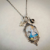 Alice Through The Looking Glass charm necklace with tea cup, rabbit, Alice pendant, vintage steampunk inspired jewelry, one of a kind