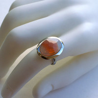 Vintage Orange Glass Ring, Givre Oval Adjustable Ring, Silver Tone Ring