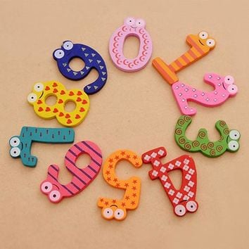 New Arrival 10Pcs Cute Wooden Fridge Magnet Number 0-9 Kids Colorful Educational Toy Set 6RVZ