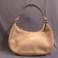 Auth COACH Luxury Pebbled Leather Harley EW Hobo F38250 Beige Shoulder Bag