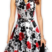 women D3 retro vintage 50s rockabilly dress floral print no belt = 5738876801