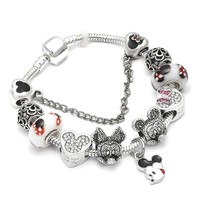 Animal Mickey Mouse Charm Bracelets & Bangle For Women Fashion Original DIY Minnie Pandora Bracelet for Women Jewelry Gift
