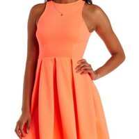 Neon Coral Neon Back Cut-Out Skater Dress by Charlotte Russe