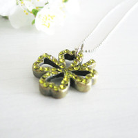 Green clover leaf necklace-Shamrock pendant- Spring green- four leaf good luck clover
