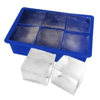 Evelots Large Cube Silicone Ice Trays, Giant 2 Inch Ice Cubes, Blue