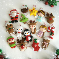 Christmas ornaments felt SET of 16 ornament Christmas felt Decor Big set cute Christmas tree ornaments Reindeer felt Gingerbread Santa