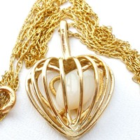 10K Yellow Gold Caged Heart Pendant Necklace