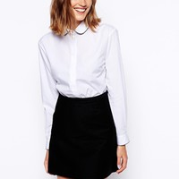 ASOS Long Sleeve Shirt with Spot Piping Detail - White