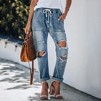 2020 new women's retro straight-leg jeans with ripped drawstring