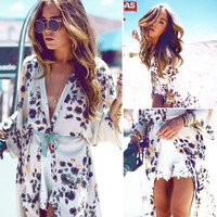 Women Kimono Jacket Chiffon Cardigan Long Top Blouse Beach Cover Dress = 5709617345