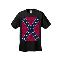 Oversized Distressed Confederate Rebel Flag  T Shirt Southern Pride