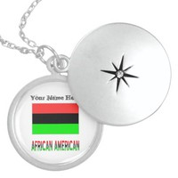 African Diaspora Flag and African American Round Locket Necklace