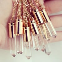 Polished Quartz Crystal Gold Bullet Necklace - Clear Natural Raw Rough Stone Jewellery Case Casing Point Spike Pendant Gold Plated Chain