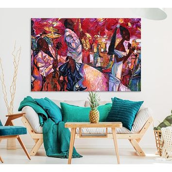 Large African American Wall Art Jazz Music Canvas Print