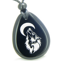 Amulet Brave and Protection Howling Wolf Moon Powers Black Agate Pendant Necklace