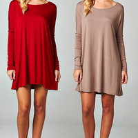 Solid Long Sleeve Tunic Top in RED (3XL)