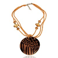 Abalone Beaded Statement Graphic Necklace Animal Gold