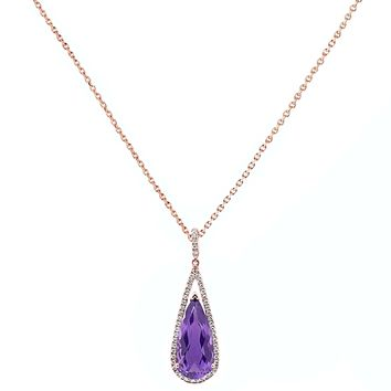 """7.51tcw Pear Amethyst with Diamonds in 10K Rose Gold Dangle Drop Pendant Necklace 18"""""""
