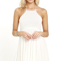 Set for Sunshine Ivory Crochet Halter Dress