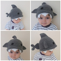 Shark hat -Knitting Baby  Hat  - for Baby or Toddler-Size 6-12 months-Dark gray baby hat-boy halloween costume
