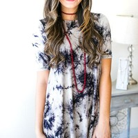 Crazy Over You Tie Dye Dress- Black