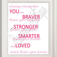 8x10 Always Remember Quote from Winnie the Pooh immediate digital download upon purchase Baby Shower Gift or Birthday Gift