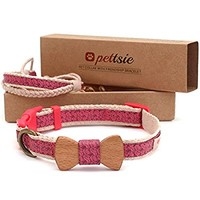 Dog Pet Collar Bow Tie and Comfortable Soft Hemp Adjustable 3 Sizes with Friendship Bracelet for You